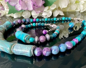 """Crystal Beaded Necklace & Bracelet Set """"Drum Agate,Faceted Apatite, Flower Agate) - aiding communication and self-expression."""