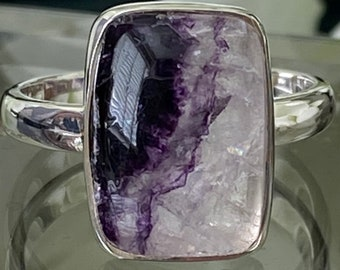 Beautiful Rare Unique Castleton Derbyshire Blue John Gemstone Hand crafted 925 Sterling Silver Ring UK Size P ( US size 7 3/4) :-