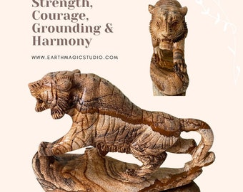 """Fabulous Picasso Picture Jasper Large Carved Tiger with fabulous colour and markings - """"Strength, Courage, Grounding & Harmony""""."""