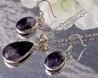 Beautiful Unique and Rare Derbyshire Blue John (Castleton Derbyshire) 925 Sterling Silver Pendant & Matching Earrings Set