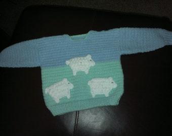 Handmade crochet baby's sheep jumper