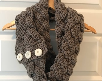 Double Braided Crochet Infinity Scarf