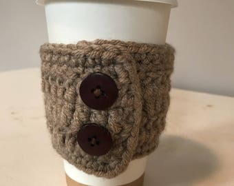 Beige Crochet Coffee Cozy Sleeve