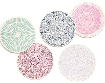 Letterpress Coaster Set | Ornate Pattern | Set of 10