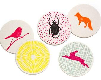 Letterpress Coaster Set | Woodland Animals | Set of 10