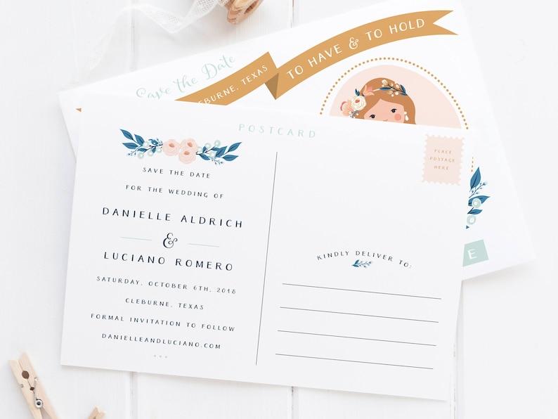 Bride Groom Floral Frame Custom Save the Date Wedding Illustration Postcard