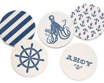 Letterpress Coaster Set | Nautical | Set of 10