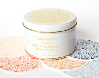 Deluxe Letterpress Coaster Tin | Whimsy Pattern No. 1 | Set of 25