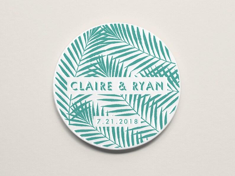Wedding Decor Wedding Favors Save the Date 4\u201d Round Modern Palm Frond Custom Letterpress Coasters