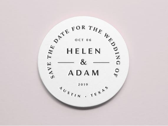 Save the Date Refined Wedding Favors Wedding Decor Classic Custom Letterpress Coasters 4\u201d Round