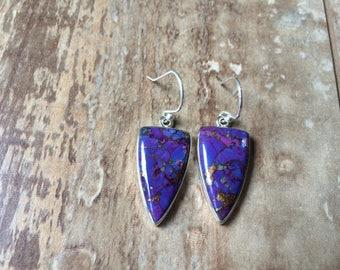 925 Sterling silver Purple copper earrings