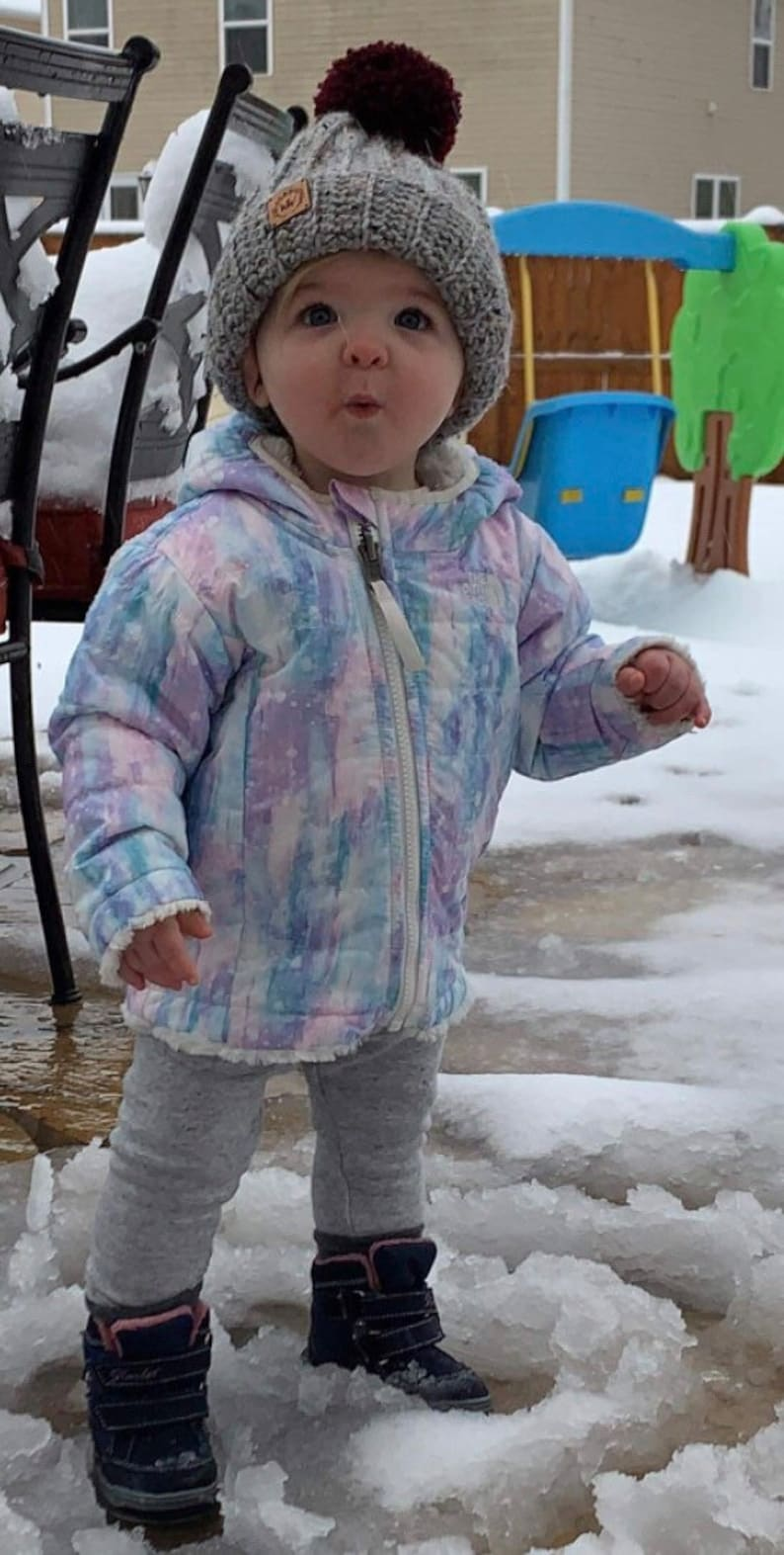 Crochet Baby Beanie Pom Pom Baby Hat Winter Baby Hat Handmade Crochet Baby Hat