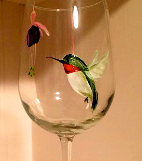 hummingbird wine glass perfect gift for wine lovers or bird etsy
