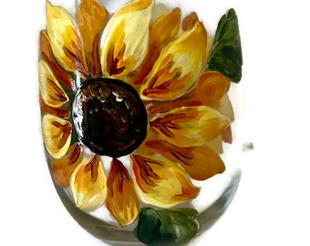 Hand Painted Sunflower Stemless Wine Glass