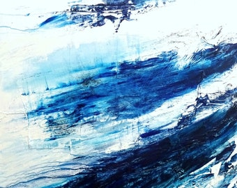 """Royal Blue Abstract Painting - Ocean Abstract Canvas Art - Blue Painting - Original Artwork 40x30"""""""