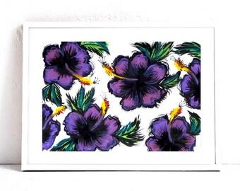 "Purple Hibiscus Art Print - Purple Wall Art Print - Botanical Painting - Tropical Decor - 8x10"" Print"