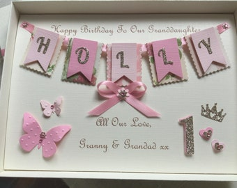 Handmade Personalised Girls 1st Birthday Card Gift Boxed Keepsake Any Age Daughter Granddaughter Goddaughter Niece 1 2 3 4 5