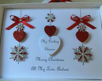 Christmas cards handmade etsy christmas card handmade personalised gift boxed holidays wife husband mum dad boyfriend girlfriend fiance fianc first christmas red silver m4hsunfo