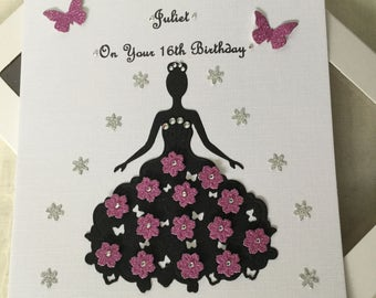 Handmade Personalised Boxed Card Birthday Prom Daughter Sister Wife Friend Granddaughter 16 18 21