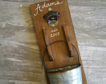 Beer Bottle Opener Groomsmen Father's Day Gifts for Him Farmhouse Decor Wedding Retirement Rustic Home Decor Wall Mounted Cap Catcher Bucket