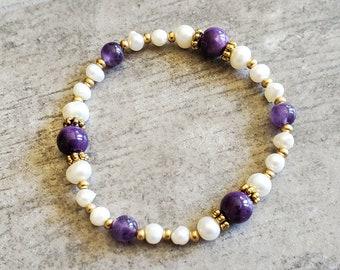 Amethyst Bracelet- Revelation 21 Pearl Bracelet - Christian Jewelry - Gemstone Bracelet - Gold Bracelet - Gifts for Her - Fresh Water Pearls
