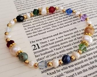 Revelation 21 Pearl Bracelet - Christian Jewelry - Gemstone Bracelet - Gift for Mom - Gold Bracelet - Gifts for Her - Fresh Water Pearls
