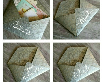 Personalized Metal Envelope Farmhouse Decor Wall Envelope Galvanized Tin Home Decor Industrial Card Holder Wall Mounted Mail Pocket Wedding