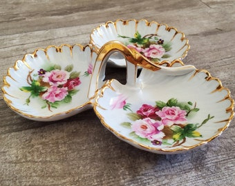 Vintage China 1920s Rose Tea Party Serving Piece / Relish Dish / Trinket Dish / Jewelry Dish / Earring Ring Dish / Soap Dish / Divided Tray