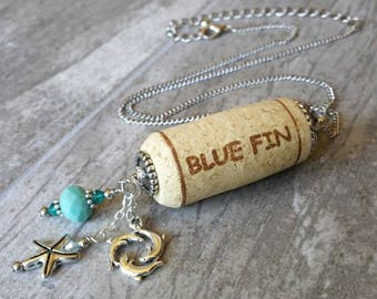Wine Cork Necklace - Dolphin Jewelry - Gifts for Her - Wine Lover Gift - Gift for Her - Silver Necklace - Starfish Necklace - Birthday Gift