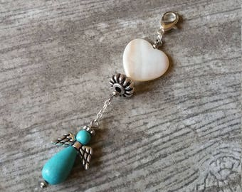 Angel Heart Purse Charm Seashell Backpack Charm Silver Zipper Pull Turquoise Scissor Fob Remembrance Sympathy Clip Ornament Birthday Gift