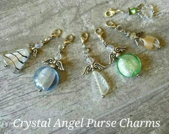 Crystal Angel - Purse Charm - Gift for Her - Guardian Angel - Zipper Pull - Scissor Fob - Remembrance Gift - Sympathy Gift - Backpack Clip