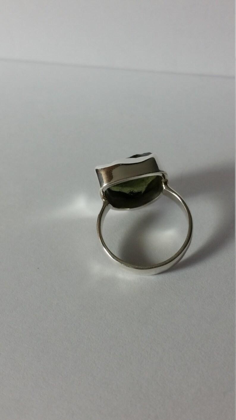Sterling Silver Moldavite Ring Bezel Set Size 8