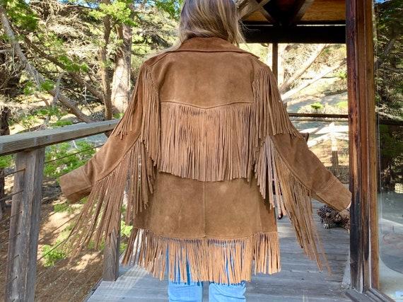 Vintage Boho Suede Jacket with Long Fringe