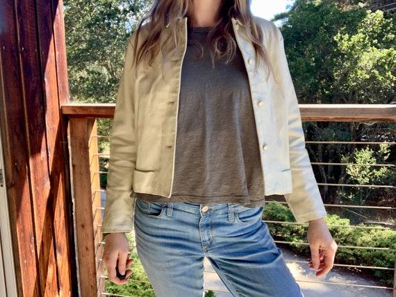 Vintage White Leather Moto Jacket