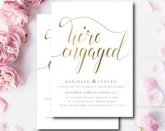 Engagement Invite, white & Faux Gold Foil, Were engaged invitation, Digital invitation