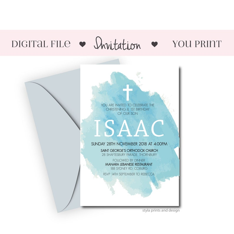 Joint Baptism And First Birthday Invitation, Blue watercolour background,  Boys Baptism Invite, Digital File, DIY Print,