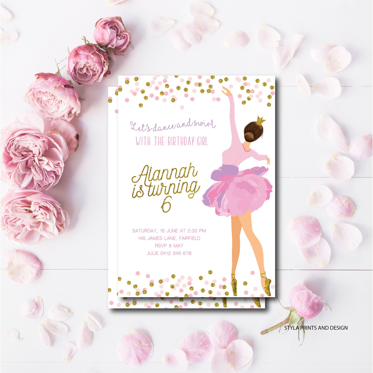 ballerina, pink and gold, tutu, ballet shoes, girls party, kids birthday invite digital file