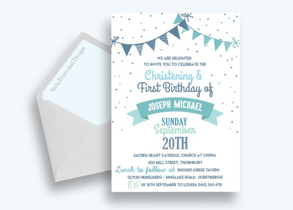With Free Envelopes Boy/'s Joint Christening /& First Birthday Invitations Cards