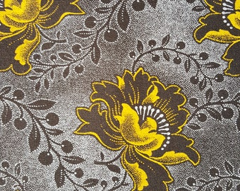 e4aef023205 3 Cats brown and gold floral pattern shweshwe fabric from South Africa sold  by the HALF meter