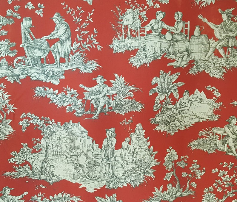 French Red Pastoral Toile Fabric 71 Wide Sold By The Etsy