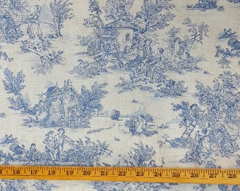 """French Blue Pastoral small-scale toile de Jouy fabric (60"""" wide), priced by the HALF yard"""