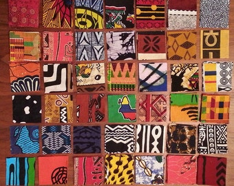 Mini charm pack of 42 different 2.5-inch West African fabrics