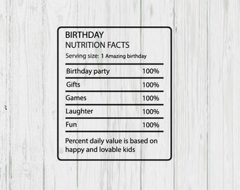 Birthday Nutrition Facts Png Etsy