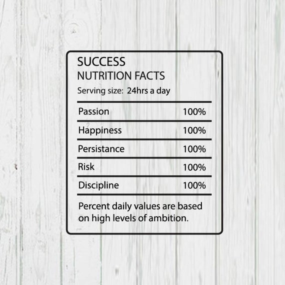 Success Nutrition Facts Templates Png Jpg Ai Files Etsy