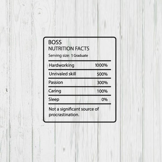 Boss Nutrition Facts Templates Png Jpg Ai Files Etsy