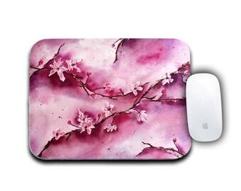 Flower Mousepad, Office Decor, Round Mousepad, Cherry Blossoms, Computer Mousepad, Watercolor Floral, Office Accessories, Floral Decor,