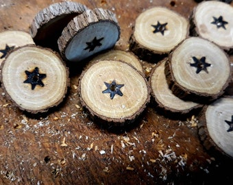 Buttons Hand Made from Tree Branch Single Central Hole with Starburst x 12 Boho