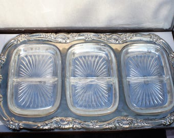 Large Silver Plate on Steel - Snack / Serving Tray with Glass Inserts in Orignal Box