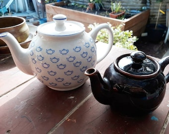 Sadler Teapots Brown Betty and One Other Mismatched Duo Priced to Reflect Slight Damage.