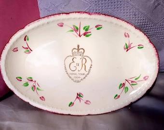 Royal Visit to Australia 1954 ER II Commemorative Plate Swinnertons England Majestic Vellum Design 837607